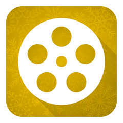 film flat icon, gold christmas button