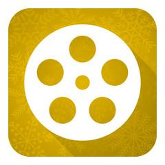 film flat icon, gold christmas button