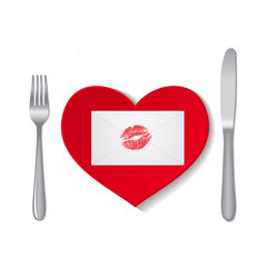Envelope with lipstick