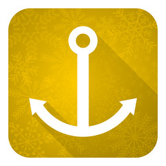 anchor flat icon, gold christmas button, sail sign