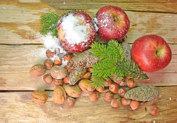 christmas background apples nuts firs wooden  xmas