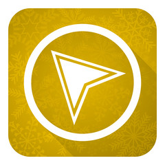 navigation flat icon, gold christmas button