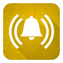 alarm flat icon, gold christmas button, alert sign, bell symbol