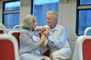 Senior couple in train