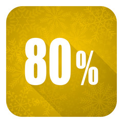 80 percent flat icon, gold christmas button, sale sign