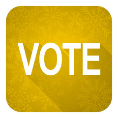 vote flat icon, gold christmas button