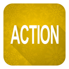 action flat icon, gold christmas button
