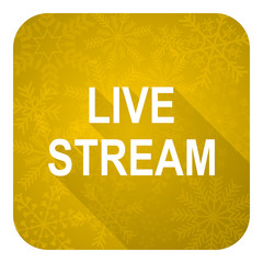 live stream flat icon, gold christmas button