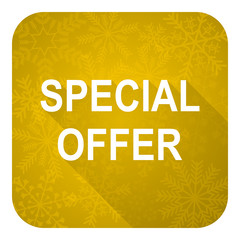special offer flat icon, gold christmas button