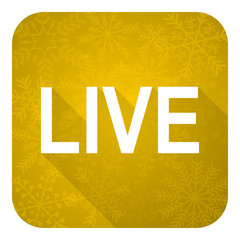 live flat icon, gold christmas button