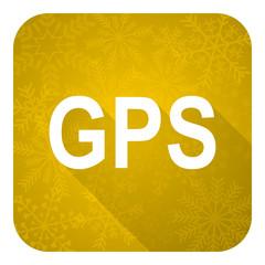gps flat icon, gold christmas button