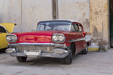 Classic american red car in Havana, Cuba