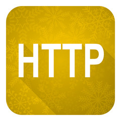 http flat icon, gold christmas button