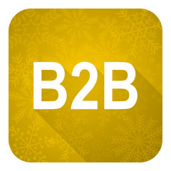 b2b flat icon, gold christmas button