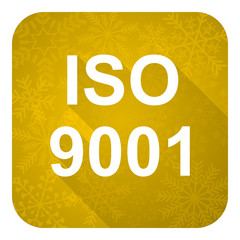 iso 9001 flat icon, gold christmas button
