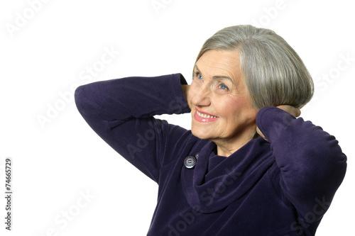Leinwanddruck Bild smiling elderly woman