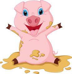 Happy pig cartoon playing in mud