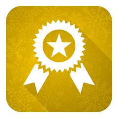 award flat icon, gold christmas button, prize sign
