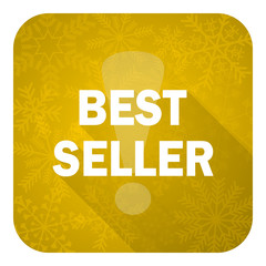 best seller flat icon, gold christmas button