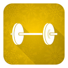fitness flat icon, gold christmas button