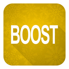 boost flat icon, gold christmas button