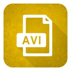 avi file flat icon, gold christmas button