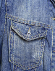 Open pocket blue denim jacket with seams