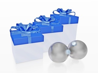 Blue Christmas Gifts and Silver Balls Baubles