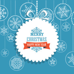 Christmas greeting card with snowflakes on background. Merry Chr