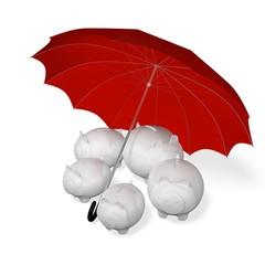 Piggy Banks Under an Umbrella