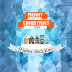 Vintage buildings with snowfall on Winter. Christmas greeting ca