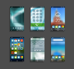 Modern smartphones with different application screens. Smartphon