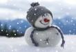 canvas print picture - Schneemännlein und der erste Schnee