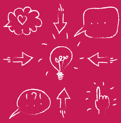 vector set of icons, outline of speech bubbles, arrows, hand