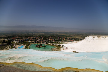 Pamukkale, Turkey. Mountainside with travertine terraces - 5