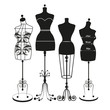 vector vintage tailor's mannequin - 74668141