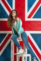 woman and UK flag