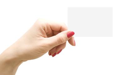 Hand mit Visitenkarte