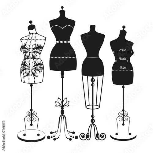 vector vintage tailor's mannequin - 74668141