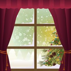 Christmas Scene Through a Window