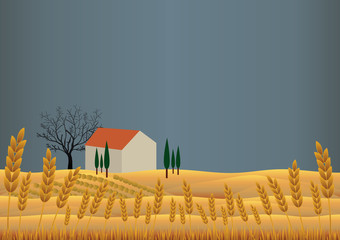 Wheat's landscape with farmhouse