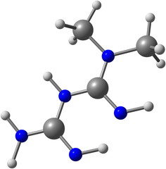 Metformin molecule isolated on white
