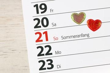 Sommer - Sommeranfang - Liebe - Liebesglück - Herzen