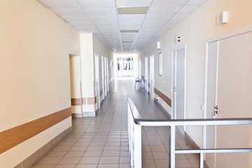 Hospital corridor interior without sicks