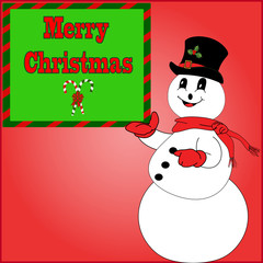 Snowman Holding a Merry Christmas Sign