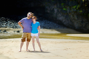 Young couple enjoying tropical vacations