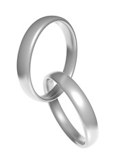 Pair of beautiful silver wedding ring bands linked together