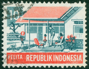 stamp printed in Indonesia  shows Modern family