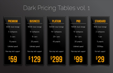 Dark pricing tables - set of price banner templates