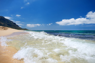Beautiful tropical beach on Oahu island